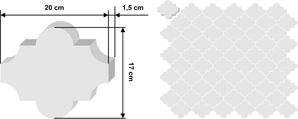 Laghaz zementfliese 20x17cm