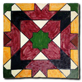 Hand painted chiselled tile Mod. Olivenza