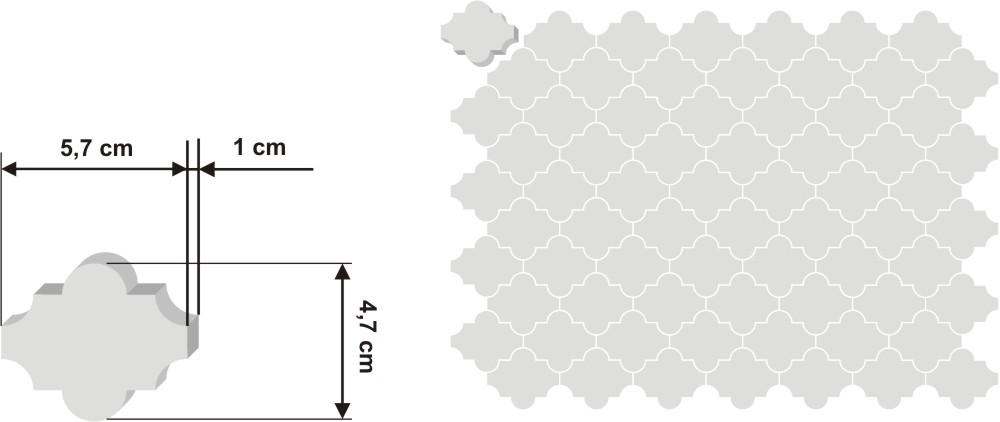 Pieza de zellige Fekroun de 5,7x4,7cm